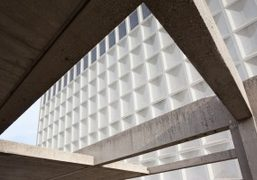 A view of the Bronx Community College designed by architect Marcel Breuer,...
