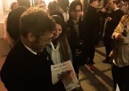 """Tom Sachs signing autographs during the premiere of """"Space Program"""" at The..."""