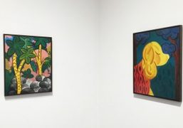 A view of André Ethier's paintings at Harper's Apartment, New York.