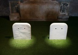 "A view of the Sturtevant ""Gober Partially Buried Sinks"" installation at Sant'Andrea..."