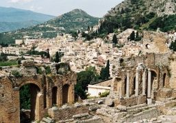 A visit to the Ancient theatre of Taormina, Sicily