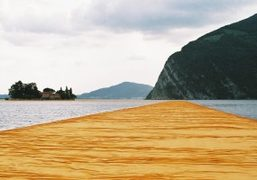 """Christo and Jeanne-Claude """"The Floating Piers"""" art installation on Lake Iseo in..."""