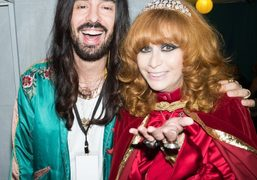 """Gucci designer Alessandro Michele and Linda Ramone during the """"Johnny Ramone Tribute""""..."""
