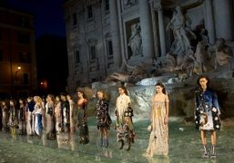 Fendi Haute Couture F/W 2017 show on the top of the Trevi...