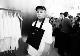 G Dragon at the launch of PEACEMINUSONE at Dover Street Market, London