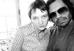 "The stylist Lotta Volkova and Olivier Zahm at the Wendy Jim ""EXI(S)T""..."