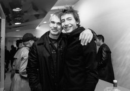 Photographer Willy Vanderperre, with model Paul Hameline, during the launch of his...