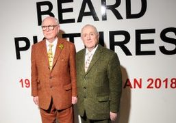 """Gilbert & George """"The Beard Pictures"""" exhibition opening at Galerie Thaddaeus Ropac,..."""