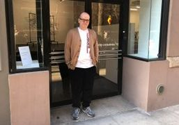 White Columns director/chief curator Matthew Higgs at grand reopening of new space,...