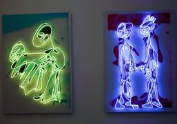 """Pascale Marthine Tayou """"Colorful Line"""" exhibition curated by Jérôme Sans at Richard..."""